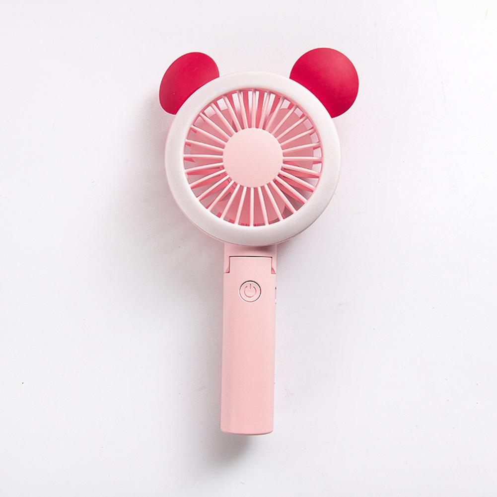 USB Mini Fan Cartoon Handheld Electric Creative USB Charging Fan Big round ear pink_21.*9cm