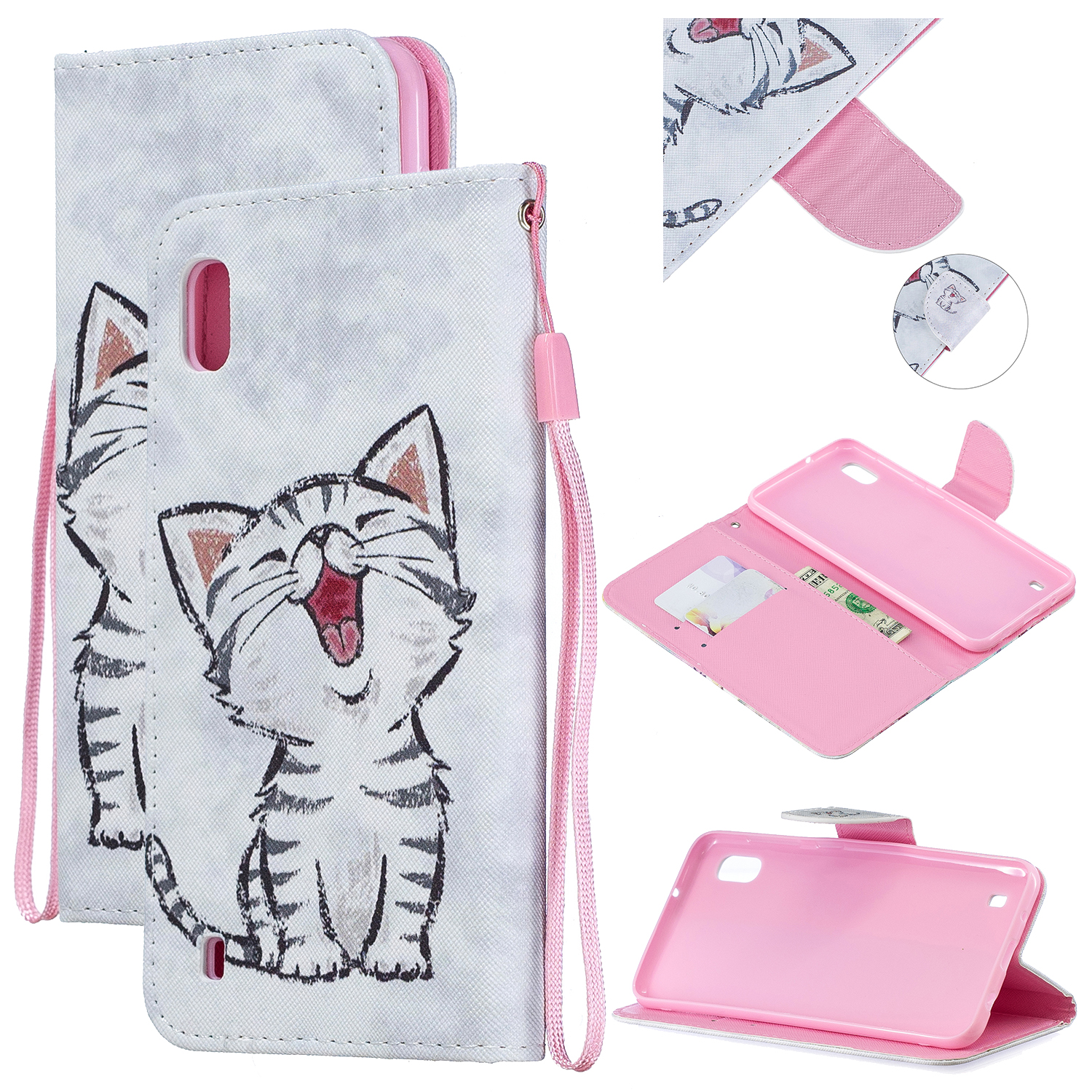 For Samsung A10/A20/A30 Smartphone Case PU Leather Wallet Design Cellphone Cover with Card Holder Stand Available Red lip cat