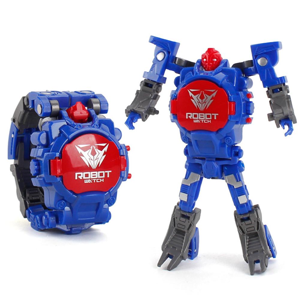 Cartoon Transformable Robot Electronic Wristwatch Digital Display Watch Child Boy Girl Toy blue