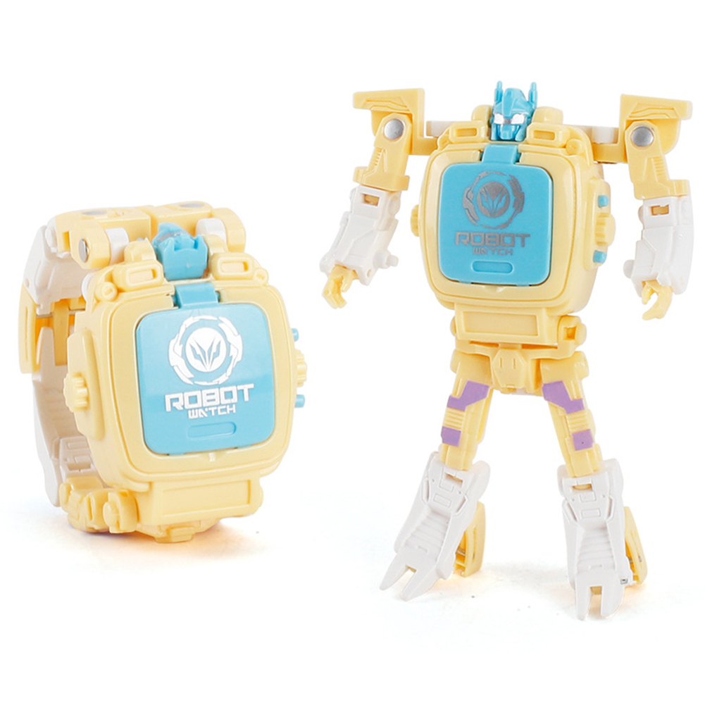 Cartoon Transformable Robot Electronic Wristwatch Digital Display Watch Child Boy Girl Toy light yellow