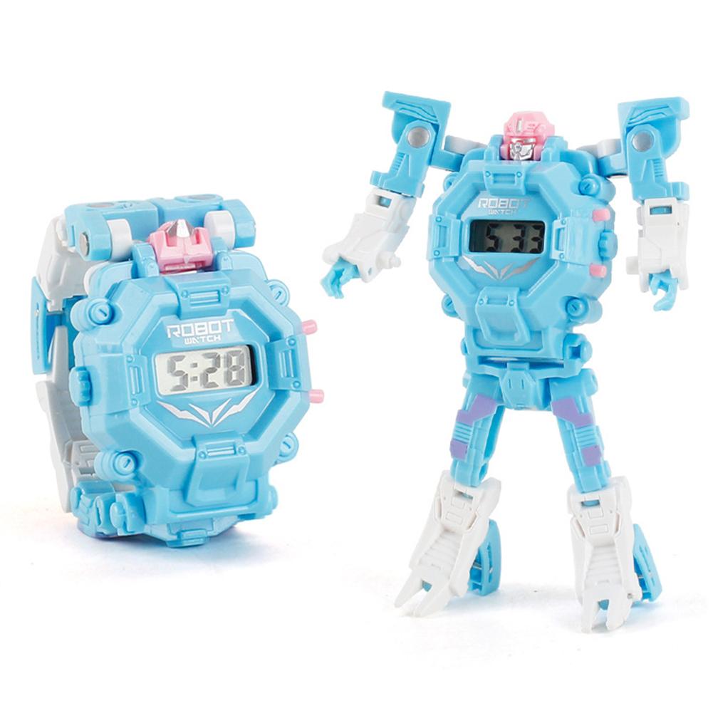 Cartoon Transformable Robot Electronic Wristwatch Digital Display Watch Child Boy Girl Toy light blue
