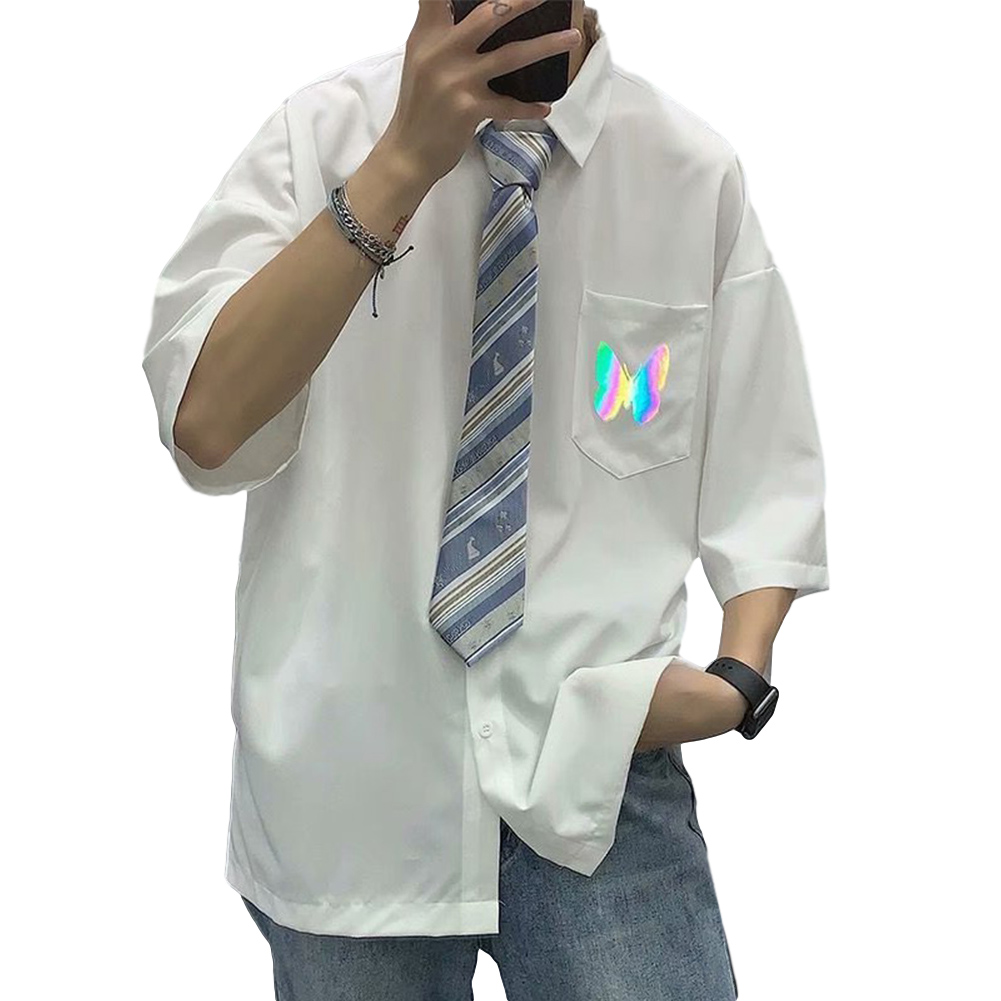 Men's Shirt Summer Large Size Loose Short-sleeve Uniform Shirts with Tie White _M