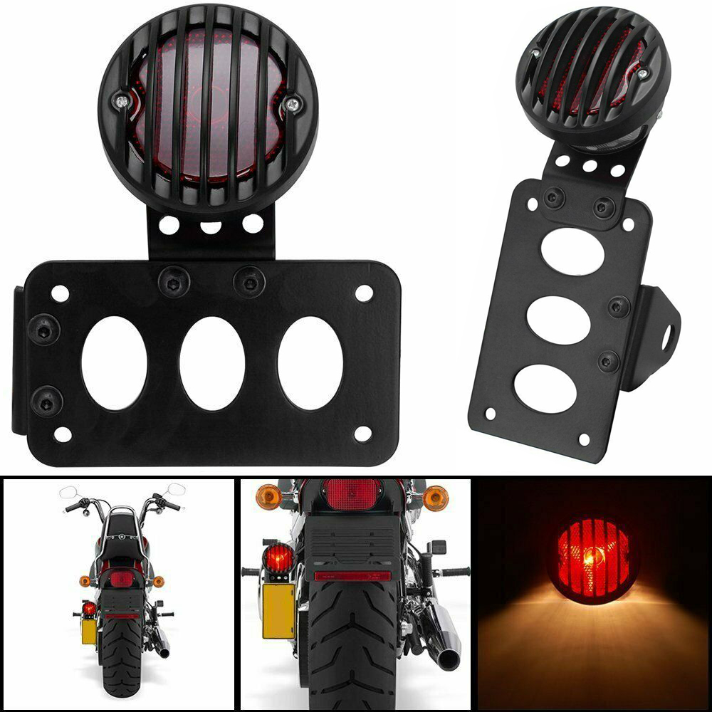 Motorcycle Side Mount Tail Light with License Number Plate Bracket For  Sportsters Bobber Chopper Rear Stop Light black