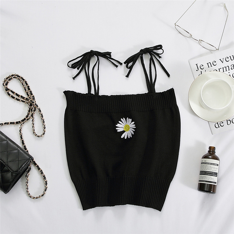 Women's Camisole Summer Knitted Embroidery Slim Cropped Small Camisole black_free size