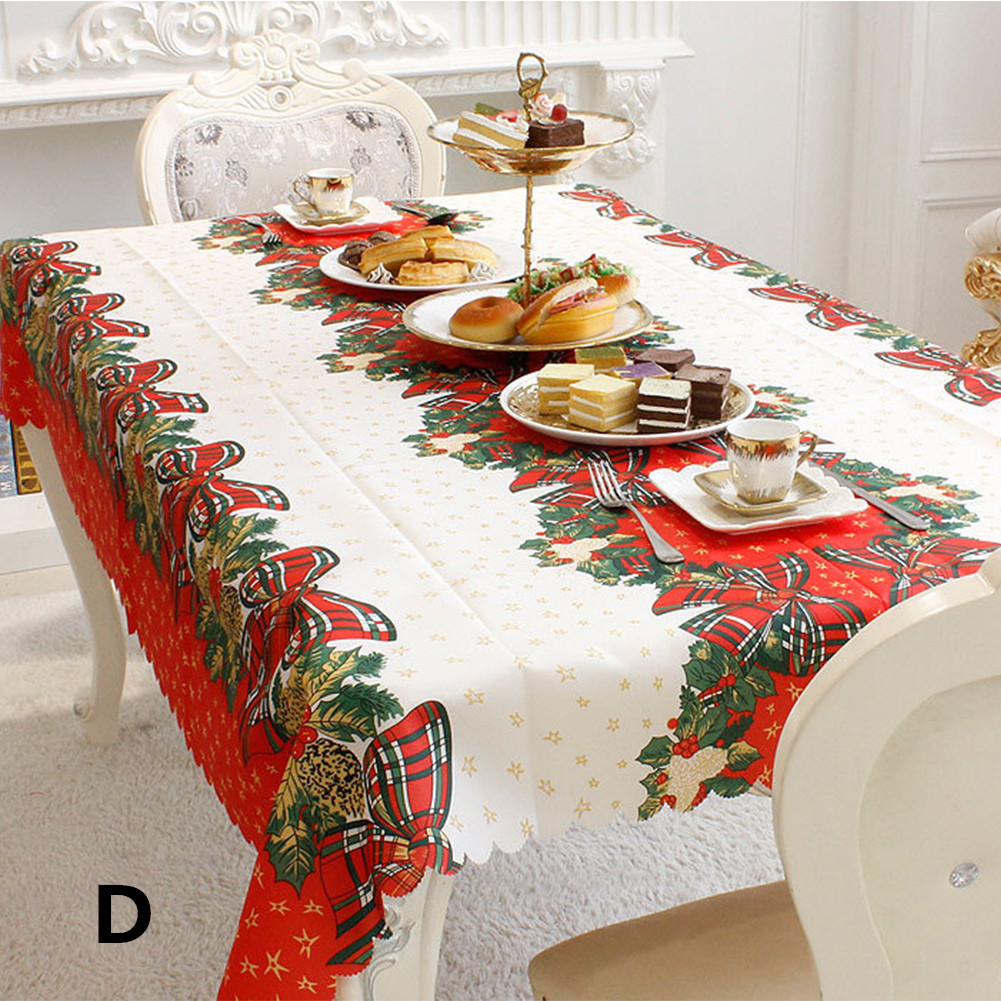 Christmas Table Cover Rectangle Printing Tablecloth for Restaurant Household Decoration D