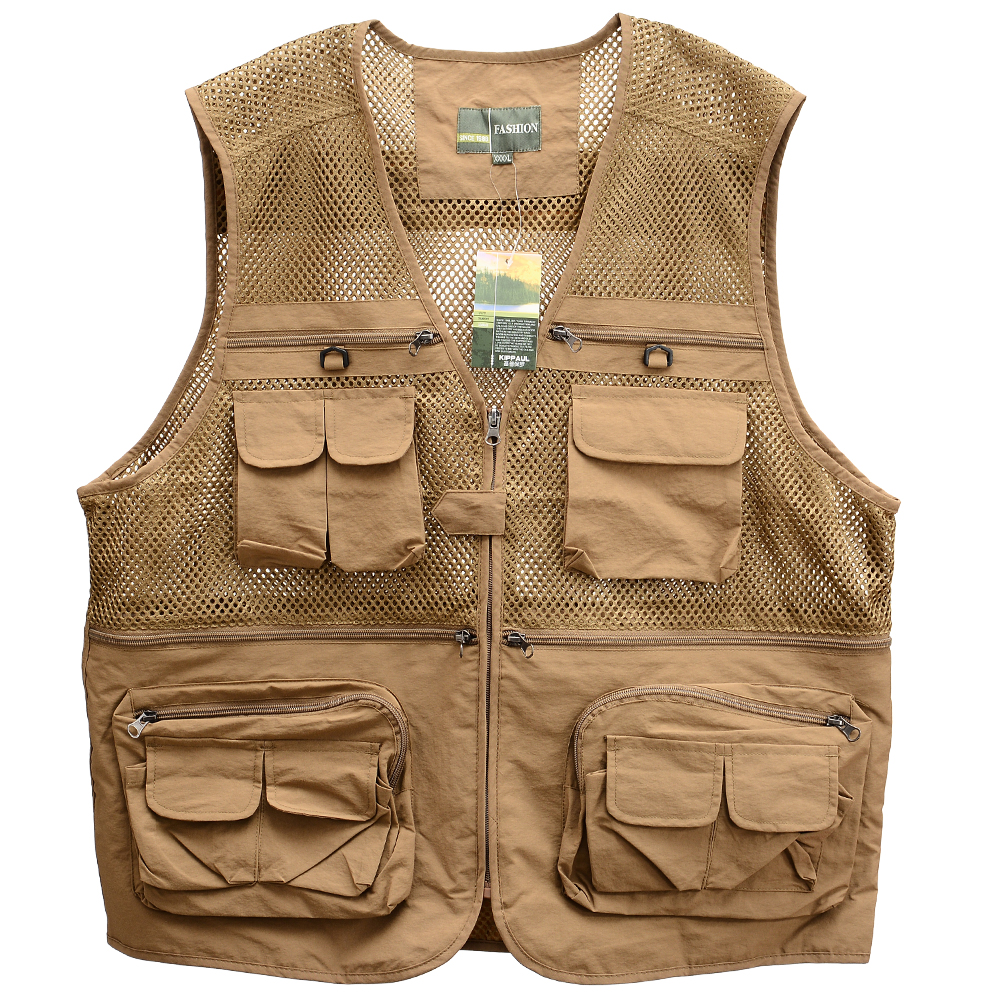 Men's Outdoor Sports Photography Fishing Multi Pocket Zipper Casual Loose Mesh Vest Khaki_XXL