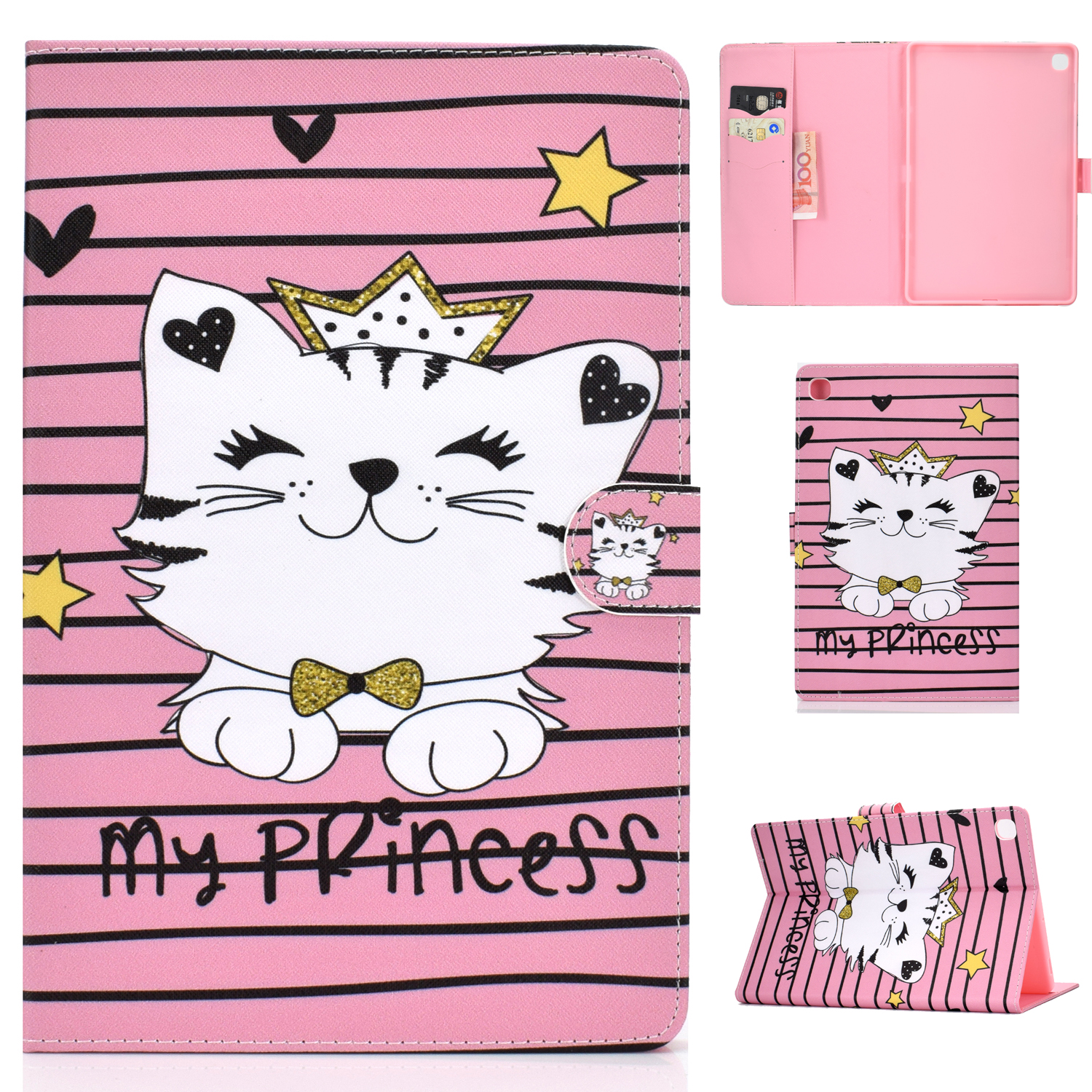 For Samsung T510/T515 Laptop Protective Case with Front Snap Cute Cartoon Color Painted Smart Stay PU Cover  Crown cat