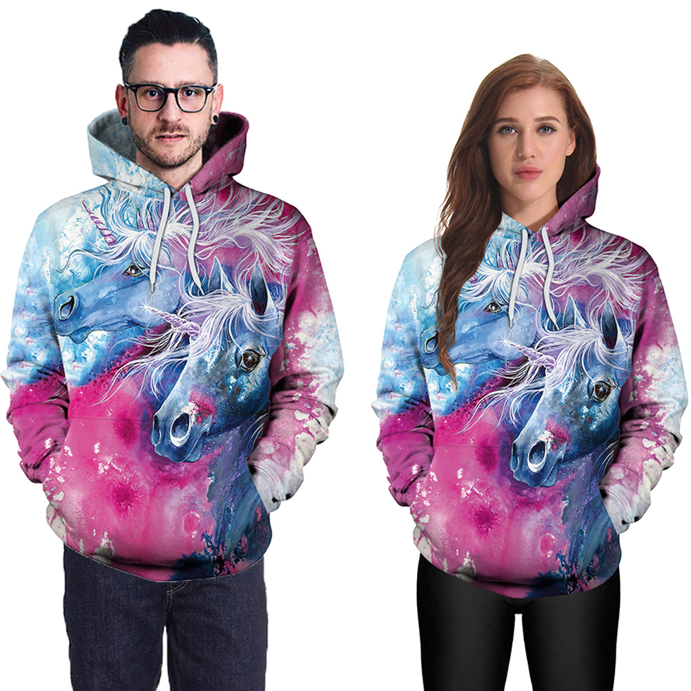 Women Men 3D Single Horn Horse Digital Printing Round Collar Hooded Sweatshirt B101-165_L