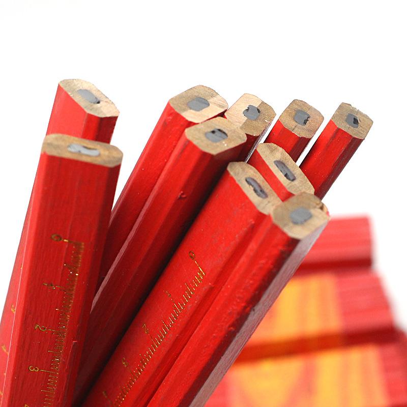 10Pcs/Lot Carpenters Pencils Black Lead for DIY Builder Joiners Woodworking Black Thick Core Flattened Mark Pen Pencil 10 pcs / tie