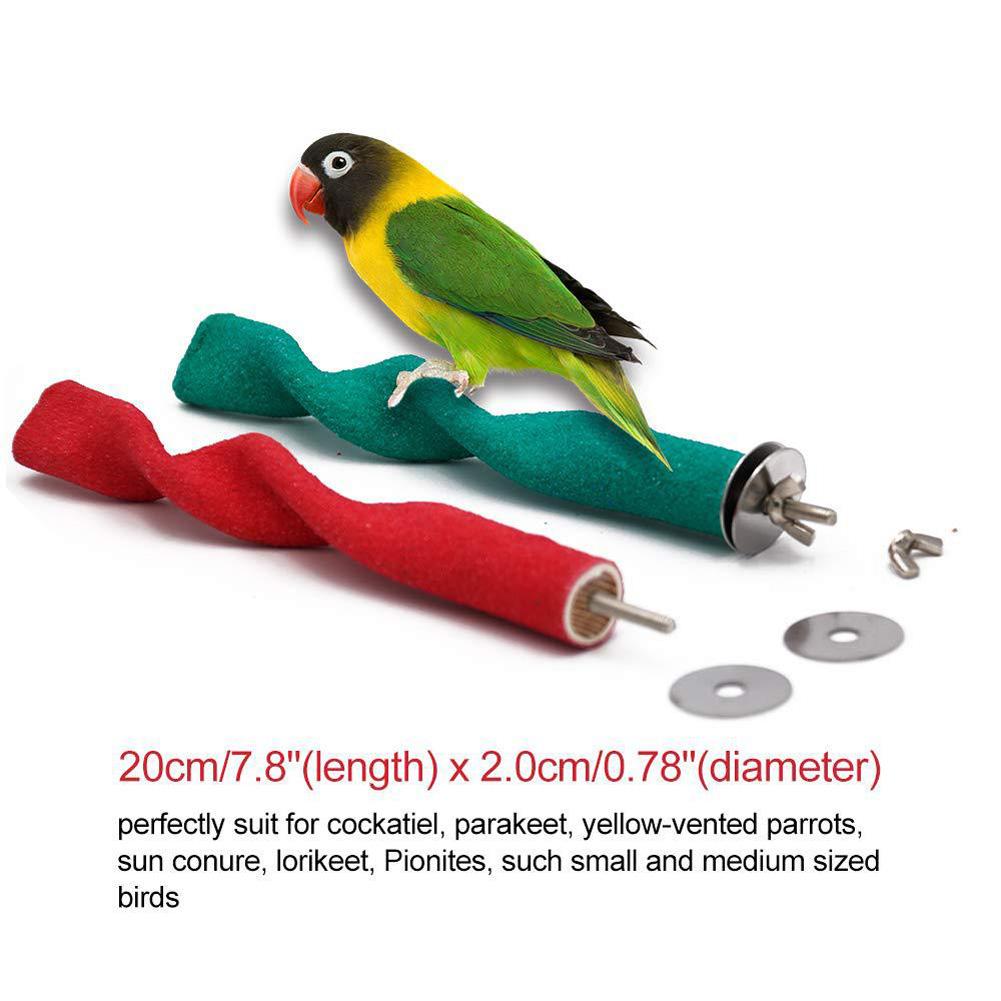 Parrot Station Rack Wave Shape Quartz Sand Surface Grind Twist Stand for Pet Birds Toy 2 * 20cm, 63g