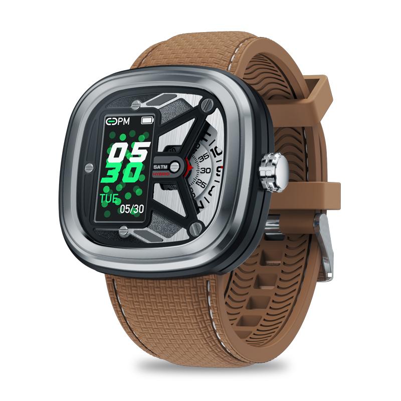 Original ZEBLAZE Hybrid 2 Dual Smartwatch Heart Rate Blood Pressure Health Monitor 50M Waterproof Exercise Tracking Smart Watch Men Silver