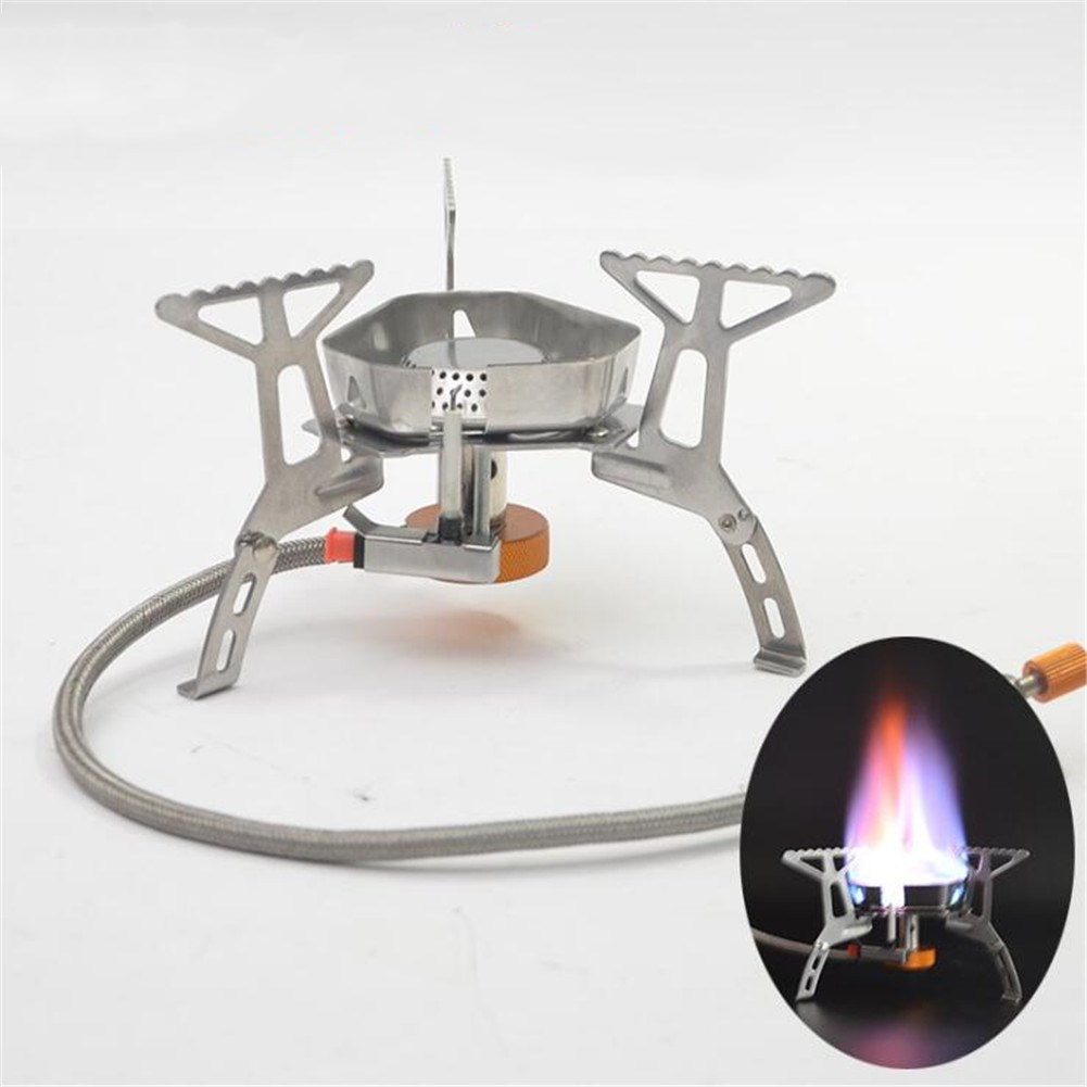 Mini Split Type Windproof Gas Stove for Outdoor Camping Picnic Fishing Silver
