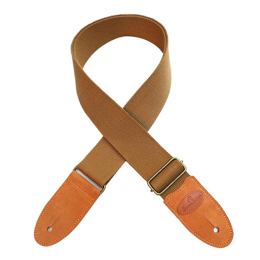 Guitar Strap Cotton Leather Comfortable Belt Solid Color Band for Folk Guitar Light Khaki_5 * 165cm