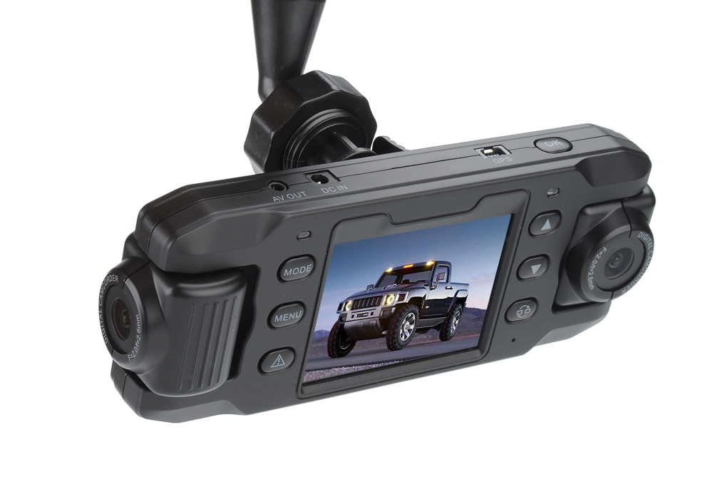 Carcam III Car DVR - 2 x 180 Degree Rotating Cameras, 2.3 Inch LCD Screen, G-Sensor, GPS, 140 Degree Lens