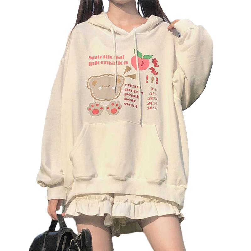 Women's Hoodies Fall Winter Loose Long-sleeve Hooded Sweater white_L