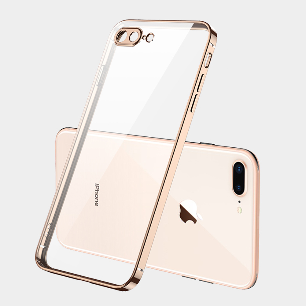 For iPhone X/XS/XR/XS Max Mobile Phone shell Square Transparent electroplating TPU Cover Cell Phone Case Golden