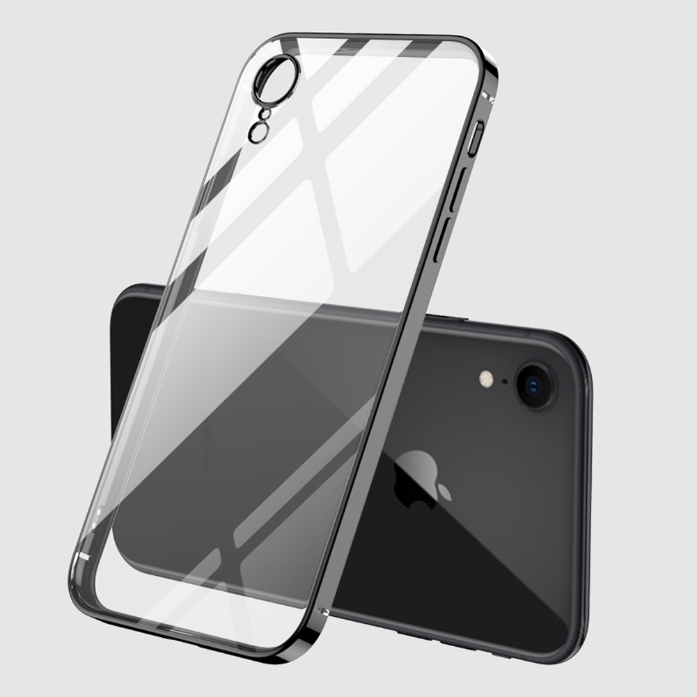 For iPhone X/XS/XR/XS Max Mobile Phone shell Square Transparent electroplating TPU Cover Cell Phone Case black