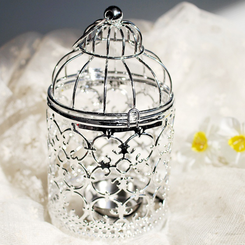 Romantic Birdcage Candlestick Metal Wedding Candle Centerpieces Tables Iron Candle Holder A # silver_8*8*14cm