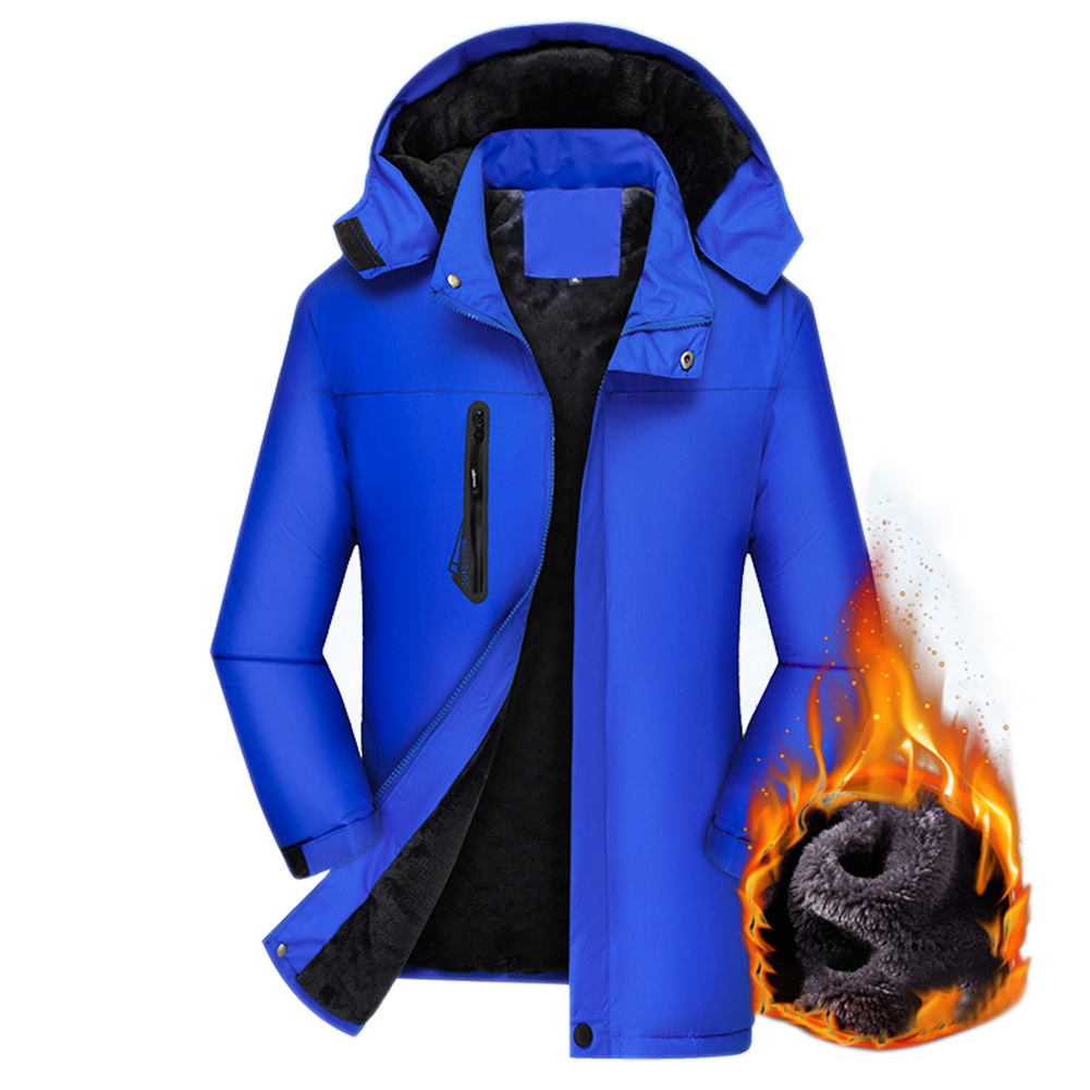 Men's Jackets Autumn and Winter Thick Waterproof Windproof Warm Mountaineering Ski Clothes blue_L