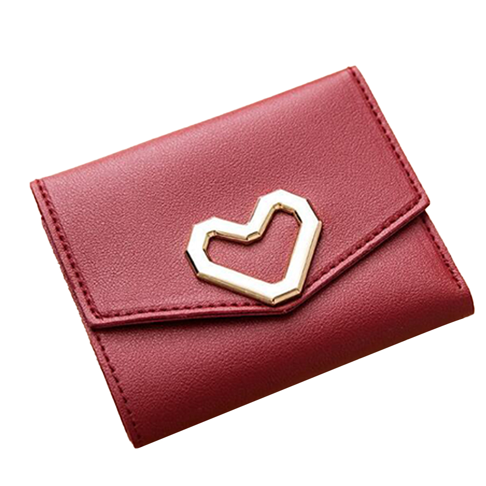 Women Short Wallet Heart 3-folds Candy Color PU Leather Magnetic Buckle Square Purse red