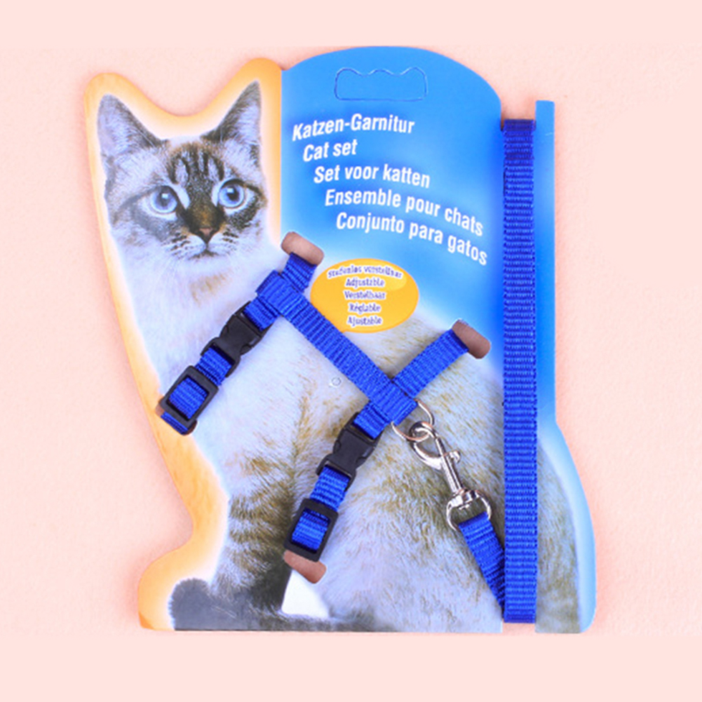 Pet Cat Dog Nylon I-Shape Chest Leash Traction Belt Pet Harness Straps  blue