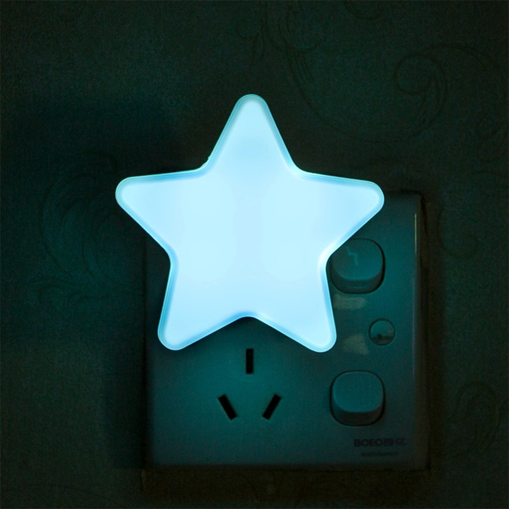 Smart Light Sensor Star-shape LED Bed Light Night Lamp Home Office Decoration Gift blue_U.S. regulations