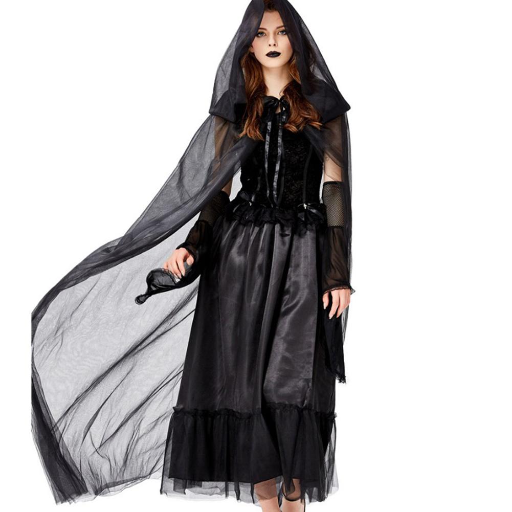 Halloween Horror Ghost Bride Lost Clothing Vampire Devil Black Dress+Cloak+Oversleeve Cosplay Party Wear black_M