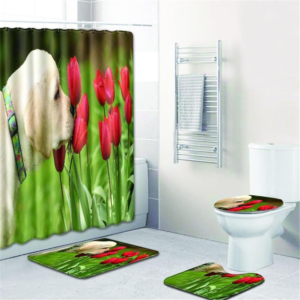 4  Pcs Non-slip Rug Toilet  Lid  Cover Bath  Mat Waterproof Bath  Curtain w180623-d035_45*75cm