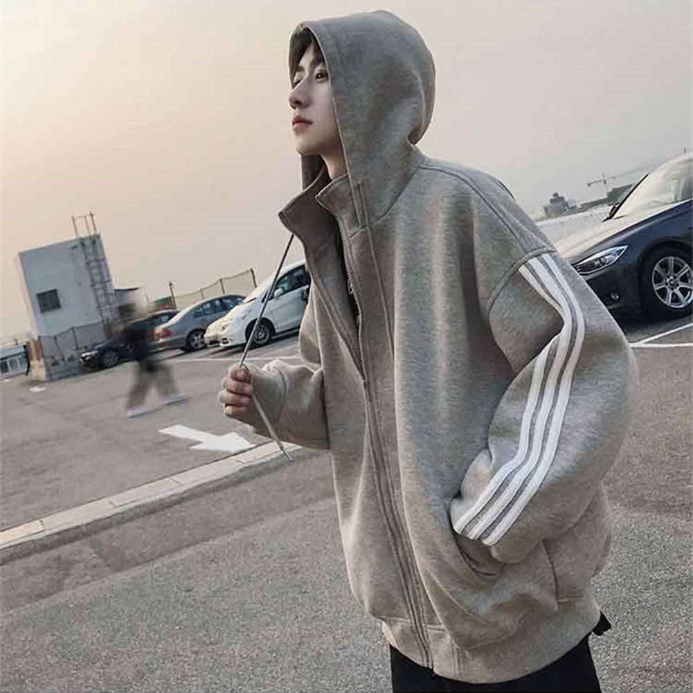 Men Long-Sleeved Zipper Stripe Cardigan Sweater Hoodies for Campus Dating Sports gray_XXL