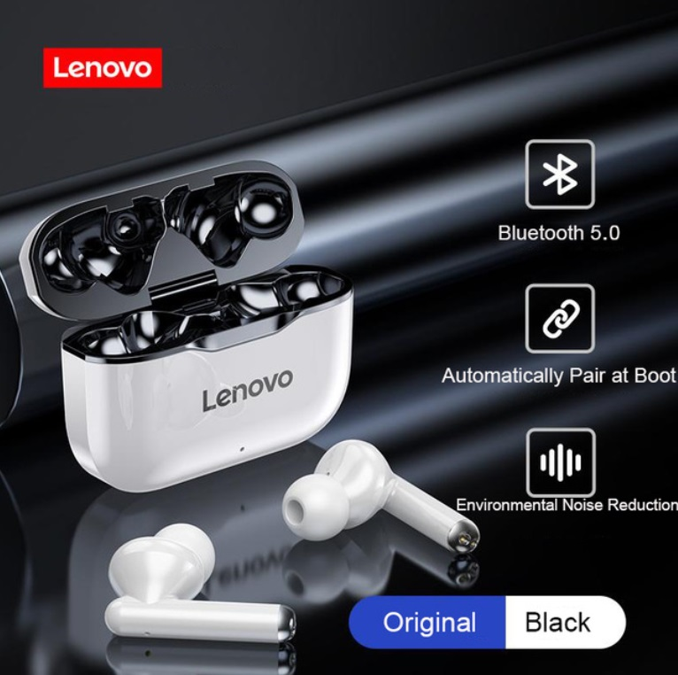 Original LENOVO Wireless Earphones Bluetooth 5.0 TWS LP1 Earbuds 9D Stereo Sound Noise Reduction IPX4 Headsets With Mic  black
