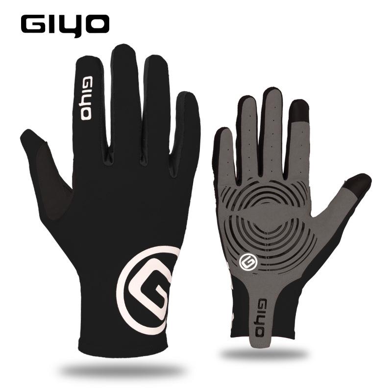 Giyo Cycling Full Finger Gloves Touch Screen Anti-slip Bicycle Bicicleta Road Bike Long Glove black_L