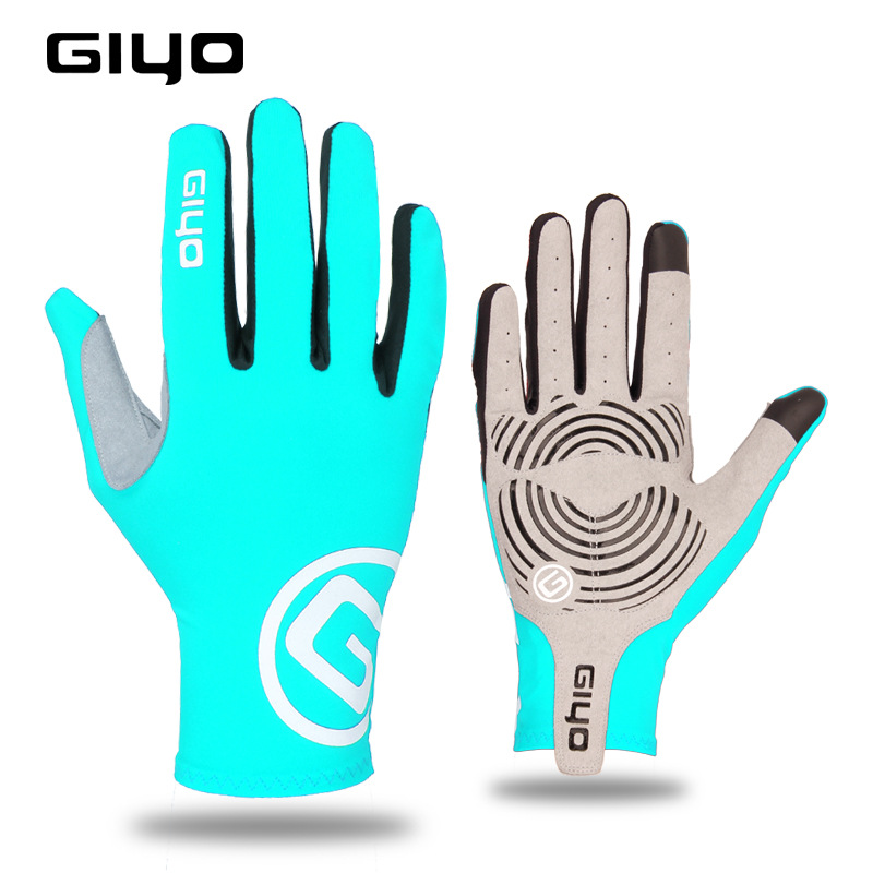 Giyo Cycling Full Finger Gloves Touch Screen Anti-slip Bicycle Bicicleta Road Bike Long Glove Light blue_M