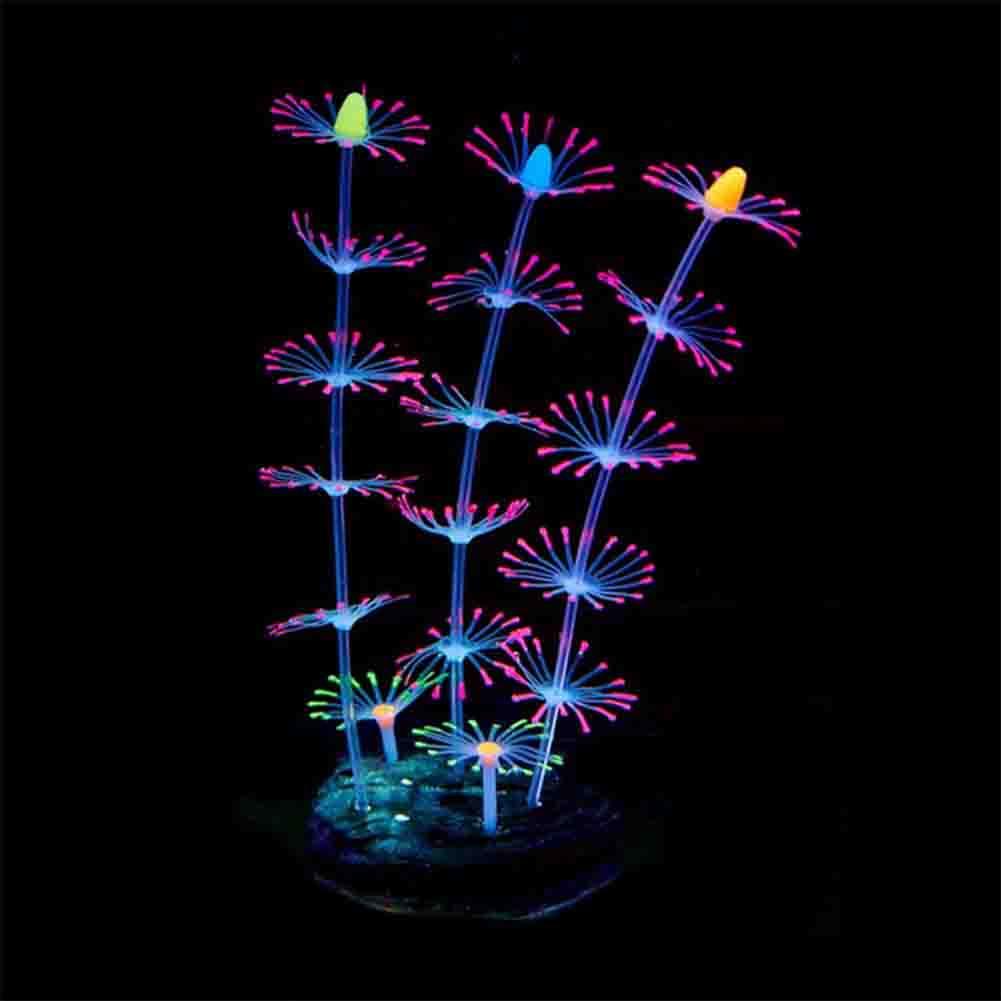 Silicone Artificial Aquarium Fluorescent Effect Coral Fish Bowl Plants Ornament Landscape Decor