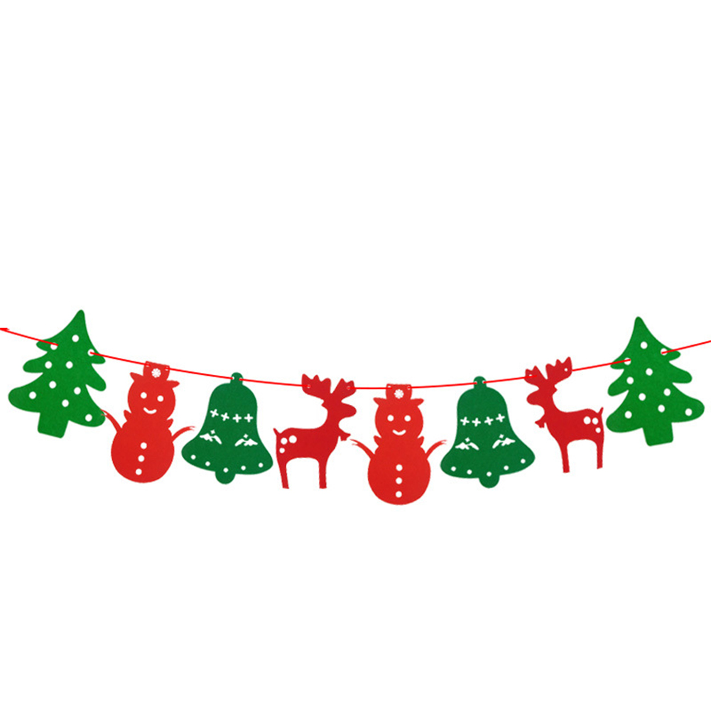Non-woven Xmas Tree Snowman Bell Elk Shape Banners Hanging Flags for Home Shop Market Room Decor 2.5m