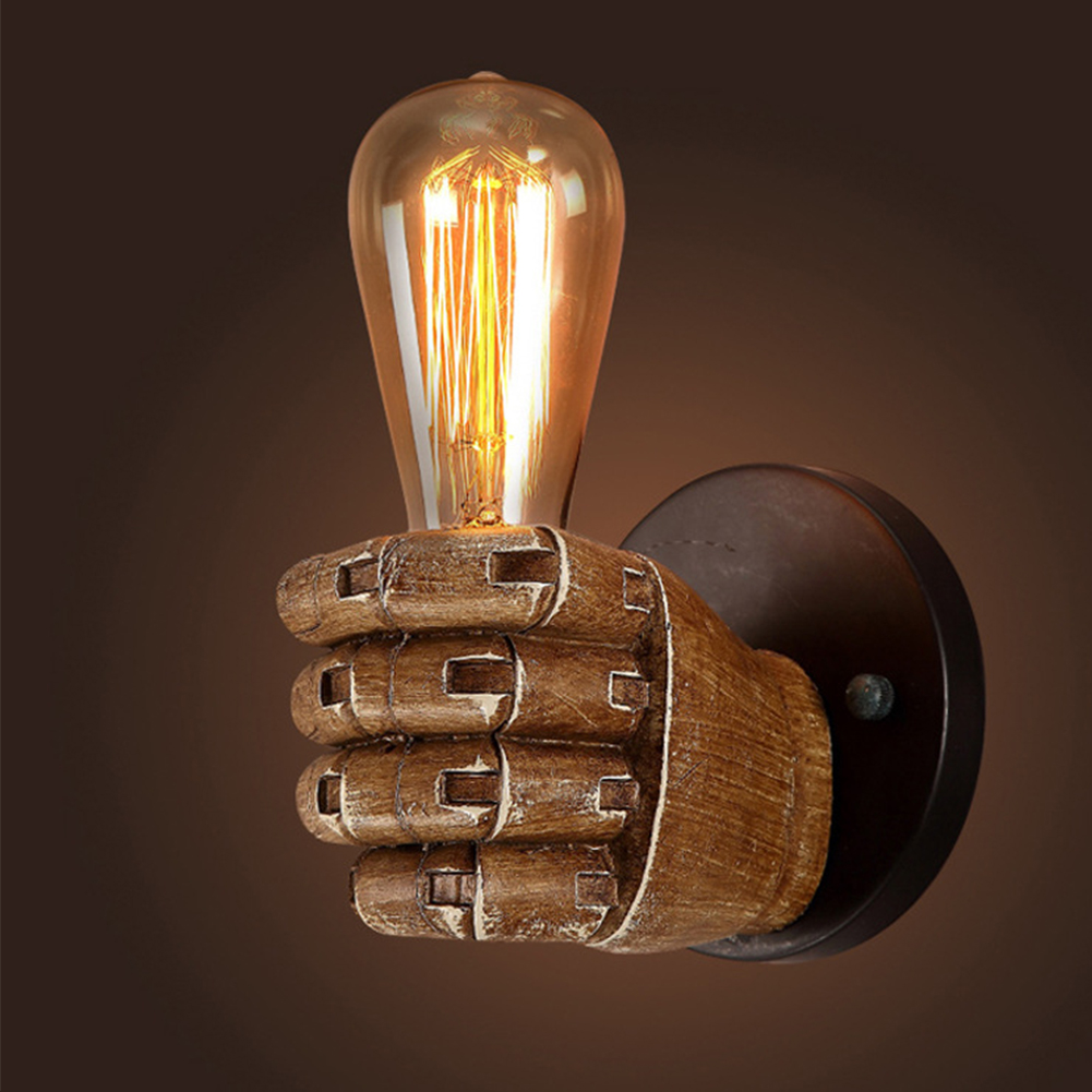 Retro Creative Fist Shape Wall Light E27 Lamp Holder Industrial Style Wall Lamp Restaurant Dinning Hall Living Room Cafe Bar Decoration Left hand