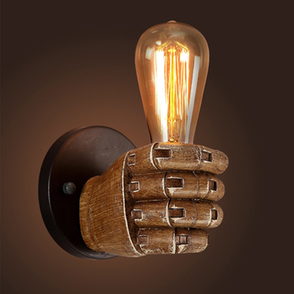 Retro Creative Fist Shape Wall Light E27 Lamp Holder Industrial Style Wall Lamp Restaurant Dinning Hall Living Room Cafe Bar Decoration Right hand