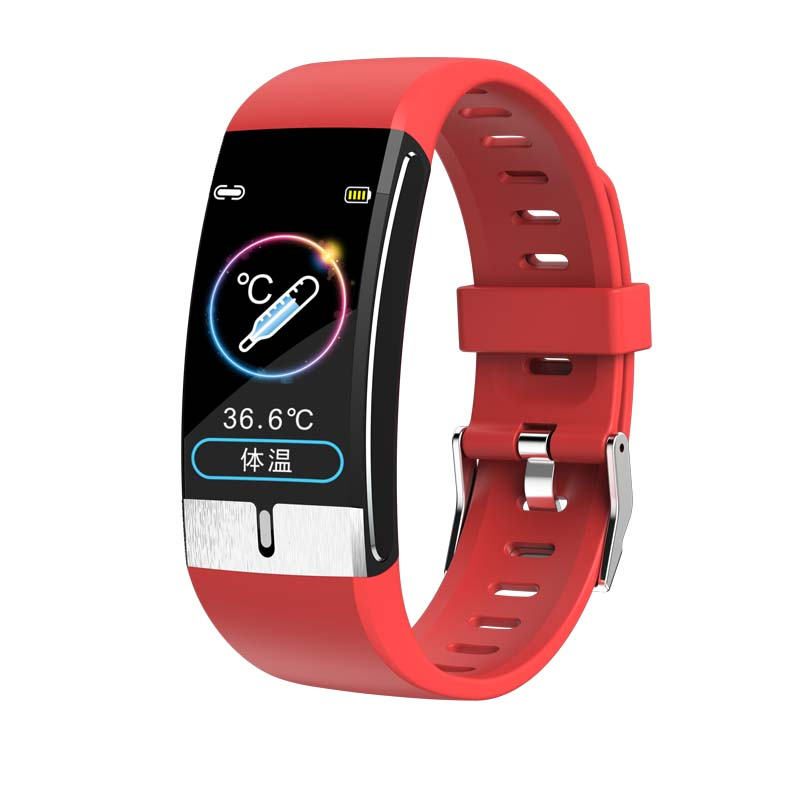 Smart Watch Band Temperature Measure ECG Heart Rate Blood Pressure Body Fat Monitor  red