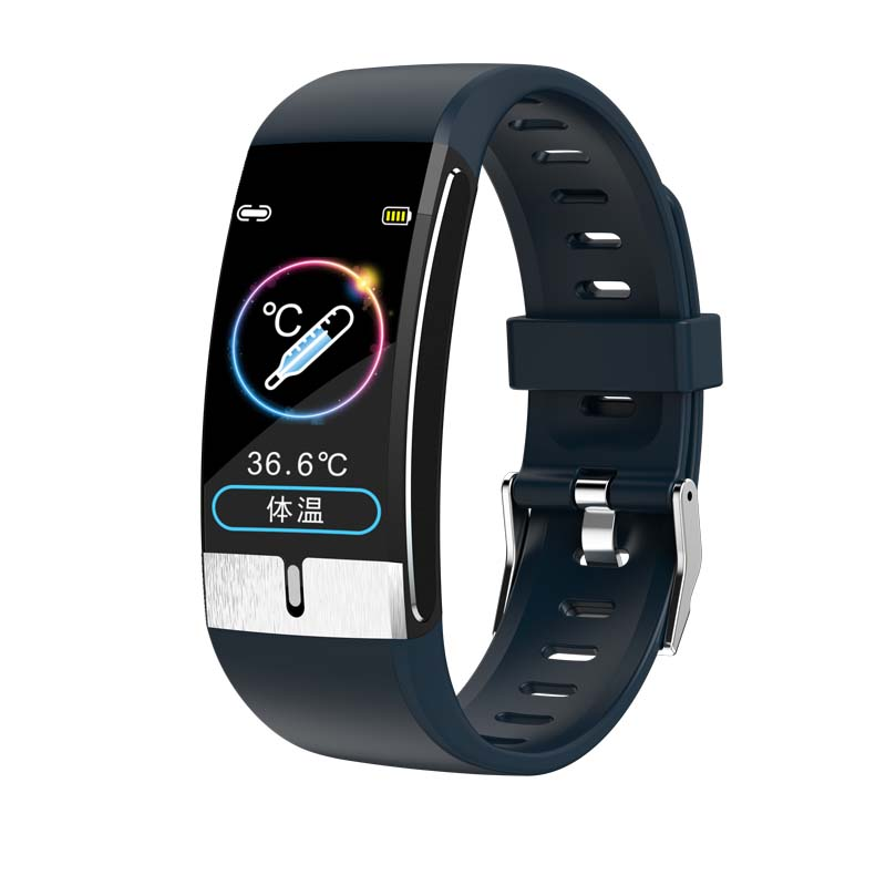 Smart Watch Band Temperature Measure ECG Heart Rate Blood Pressure Body Fat Monitor  blue