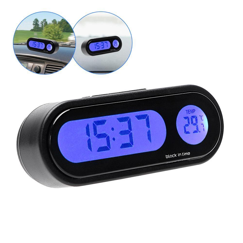 Car Mini Electronic Clock Time Watch Auto Dashboard Clocks Luminous Thermometer Black Digital Display Car Accessories