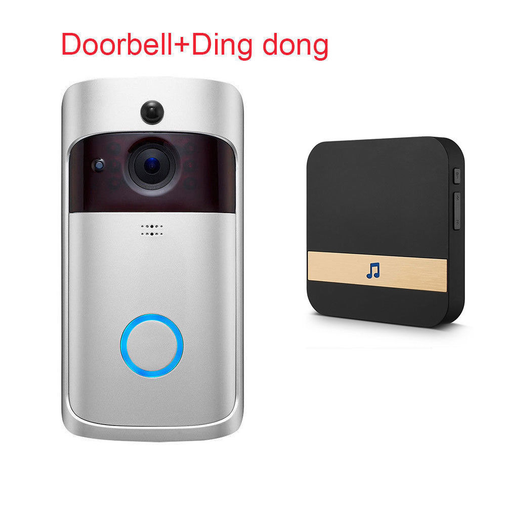 Anytek M3 Smart Wireless WiFi Doorbell IR Video Camera Intercom Record Home Security Bell with Ding dong - Silver EU Plug