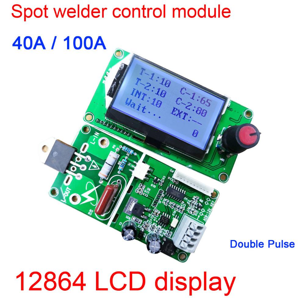 100A / 40A Lcd Display Digital Double Pulse Encoder Spot Welder Welding Machine Transformer Controller Board Time Control 40A