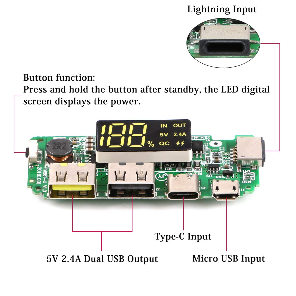 LED Dual USB 5V 2.4A Micro/for Type-C/ for Lightning USB Power Bank 18650 Charger Board Overcharge Overdischarge Short Circuit Protection green