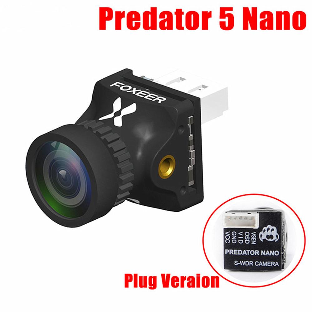 Foxeer Predator V5 Nano Full Case Racing FPV 1000TVL Camera Switchable Super WDR OSD 4ms Latency Upgraded Black interface version