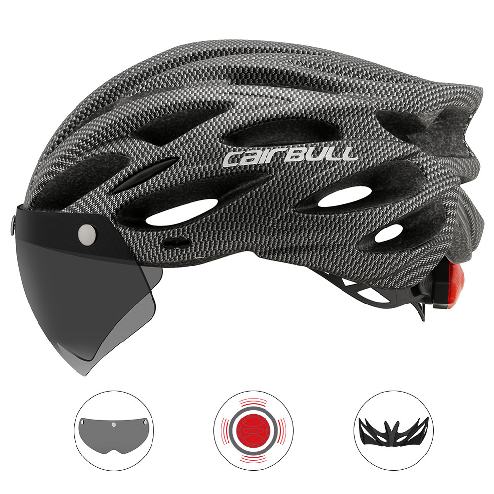 Cairbull Helmet Ultralight Off-road Mountain Bike Cycling Helmet with Removable Visor Taillight Carbon_M / L (54-61CM)