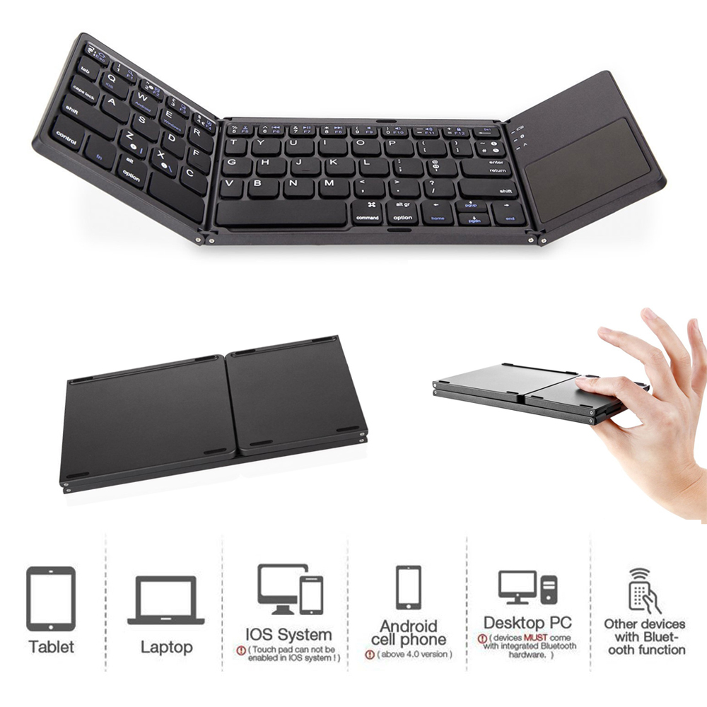 3 System Universal 3 Fold with Touchpad Tablet Mobile Phone Computer Wireless Bluetooth Folding Mini Keyboard dark grey
