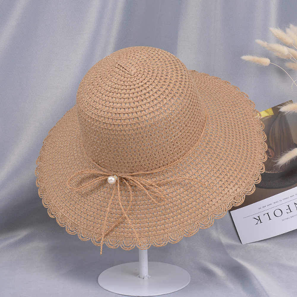 Summer Straw Hat for Women Sun-shade Seaside Ultraviolet-proof Beach Hat Foldable Hat Pearl khaki