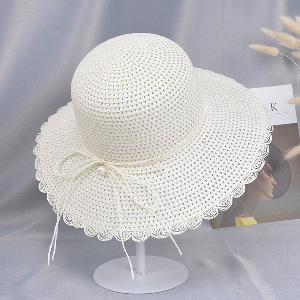 Summer Straw Hat for Women Sun-shade Seaside Ultraviolet-proof Beach Hat Foldable Hat Pearl milk white
