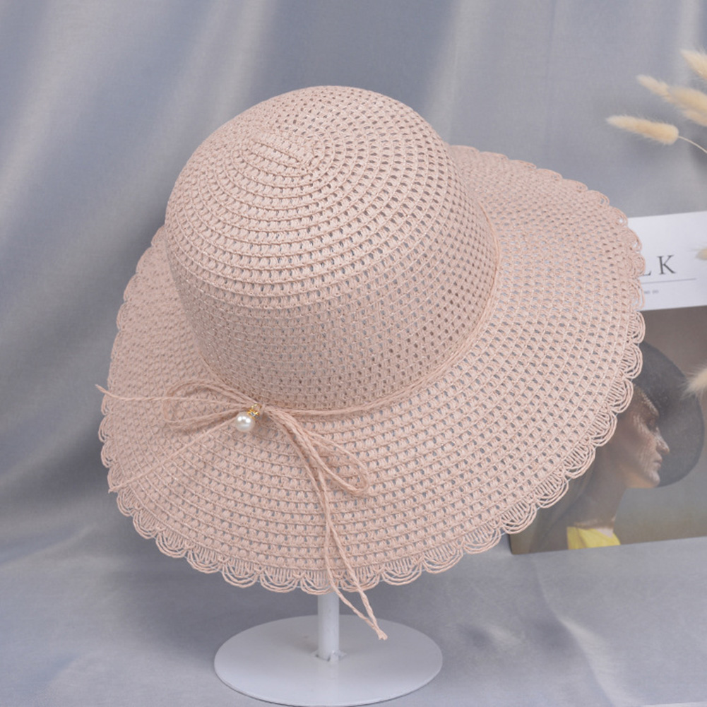 Summer Straw Hat for Women Sun-shade Seaside Ultraviolet-proof Beach Hat Foldable Hat Pearl pink