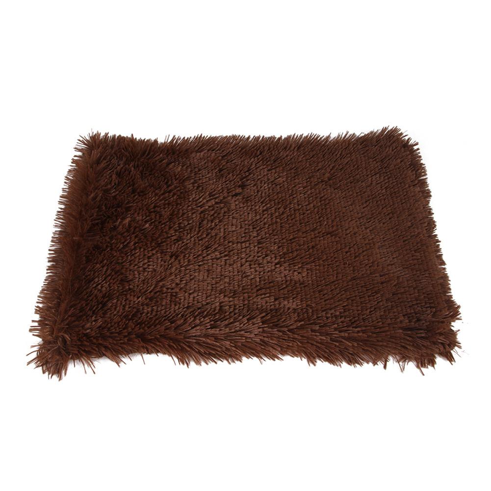 Pet Autumn Winter Dog Nest Warm Mattress Cat Sleeping Pad Long Blanket Deep coffee_L-105*90