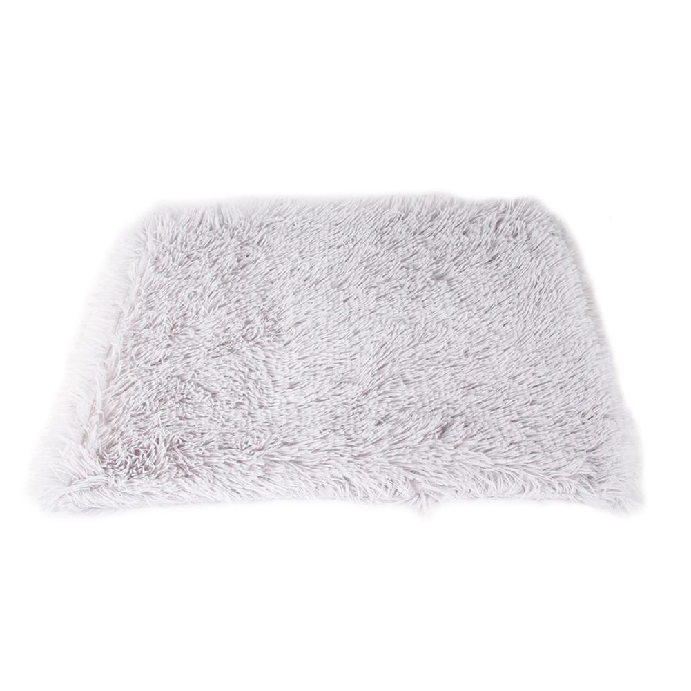 Pet Autumn Winter Dog Nest Warm Mattress Cat Sleeping Pad Long Blanket light grey_L-105*90